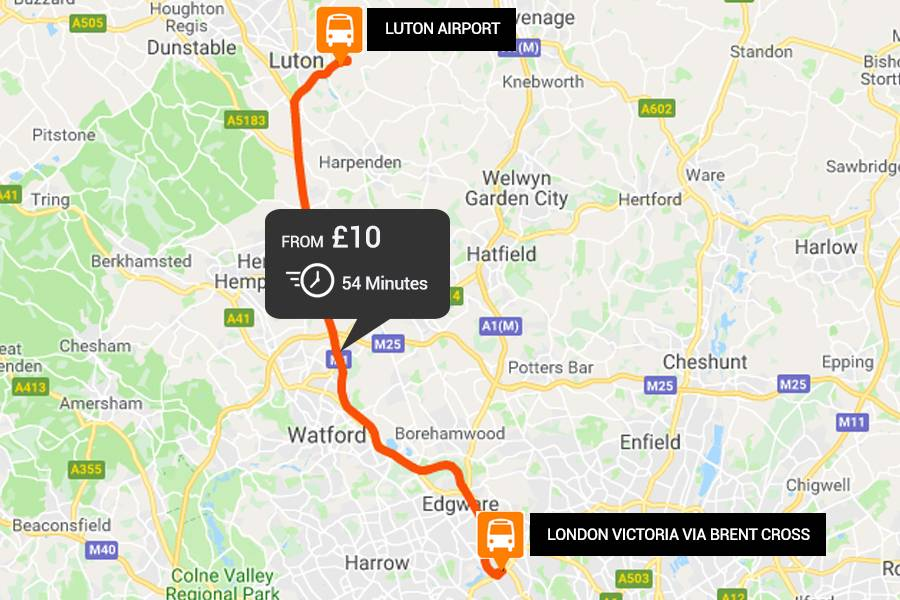 Luton Airport to from London Victoria via Brent Cross