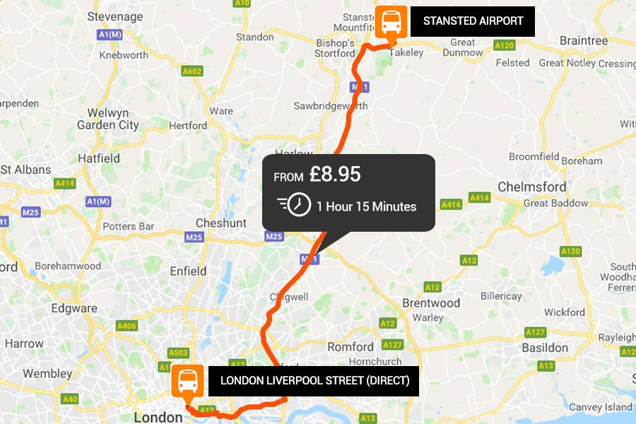 Stansted Airport to and from London Liverpool Street Direct