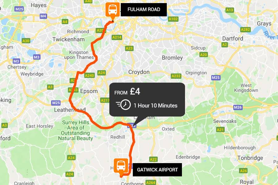 Gatwick Airport to Fulham Road